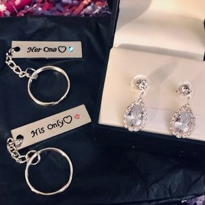 🆕 His & Her Only Keychain + Earrings Bundle